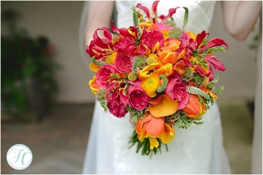 hot pink and orange bridal bouquet