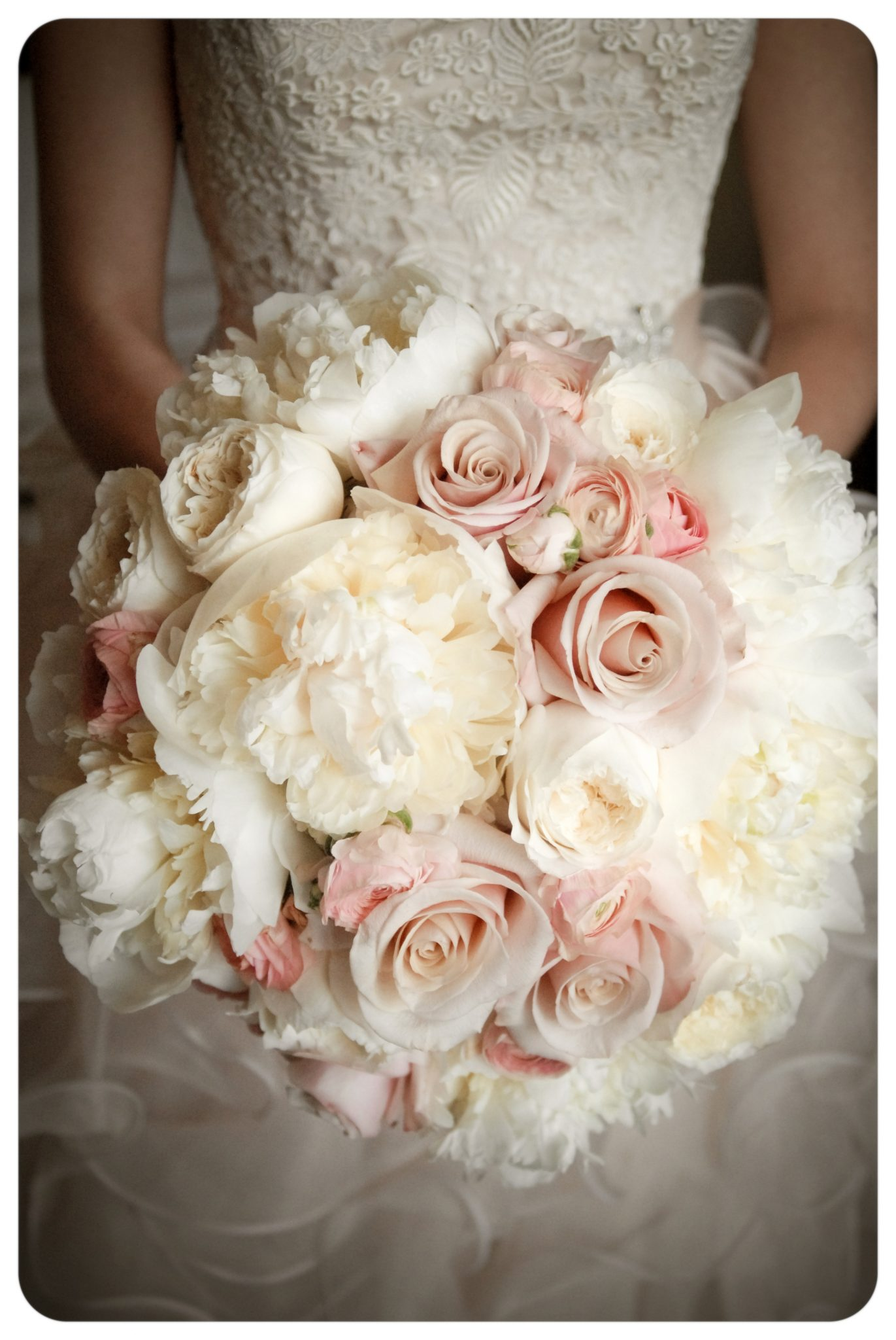 romantic blush champagne and ivory bridal bouquet