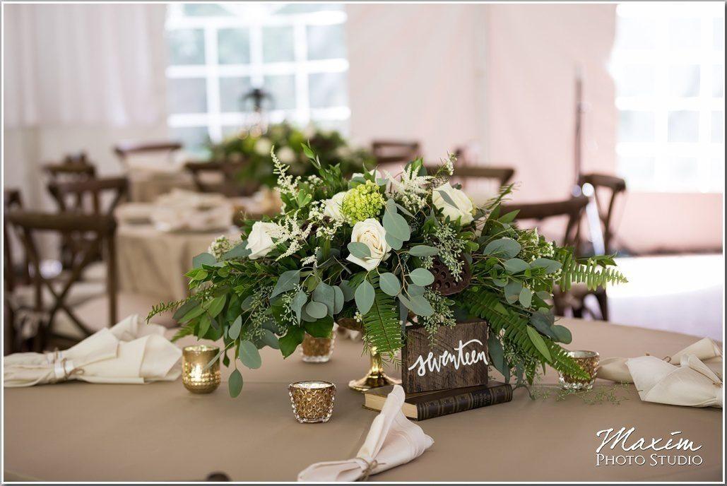 greenery centerpieces. wedding centerpiece. low wedding centerpiece.