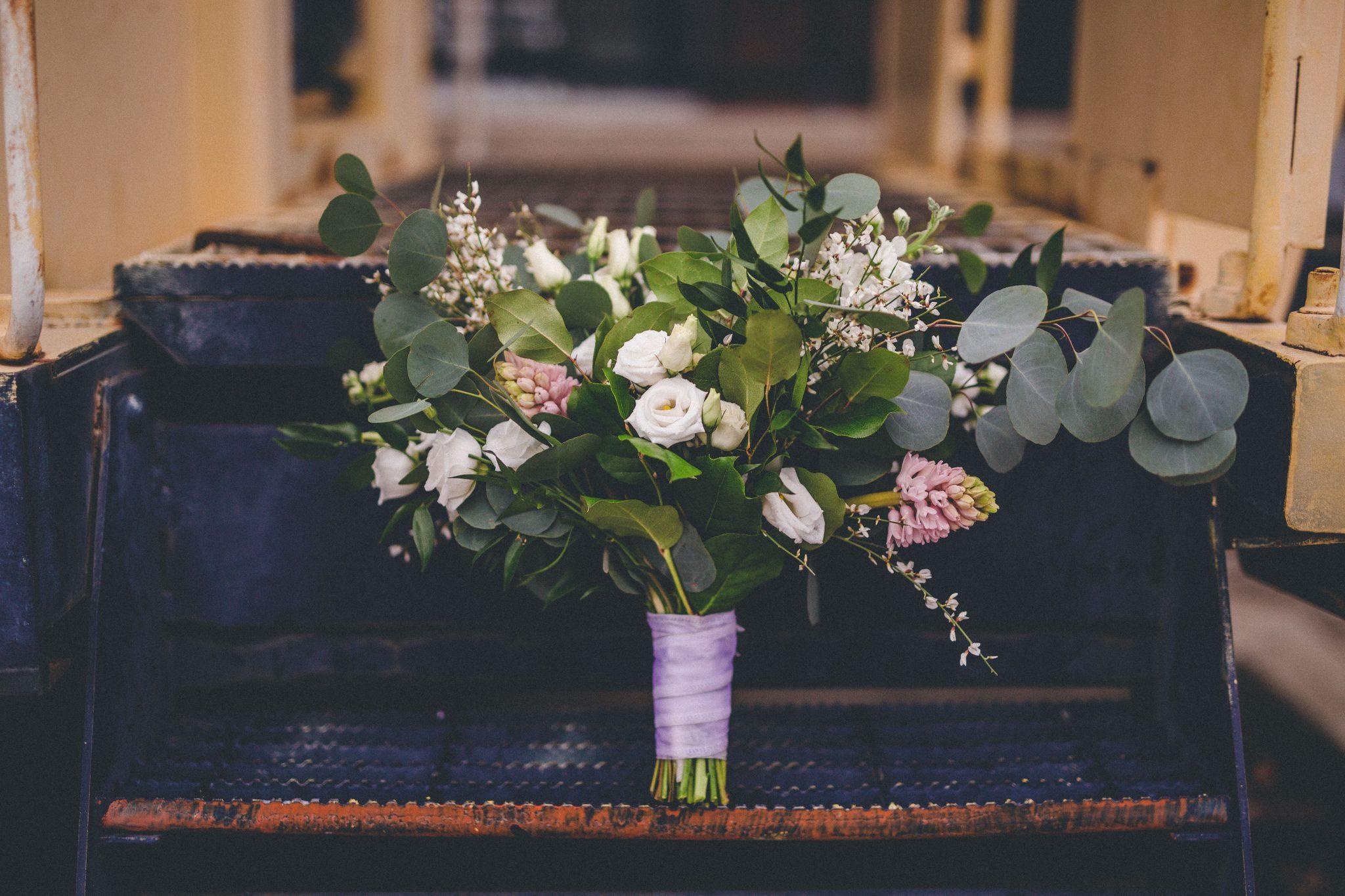 greenery bridal bouquet, greenery