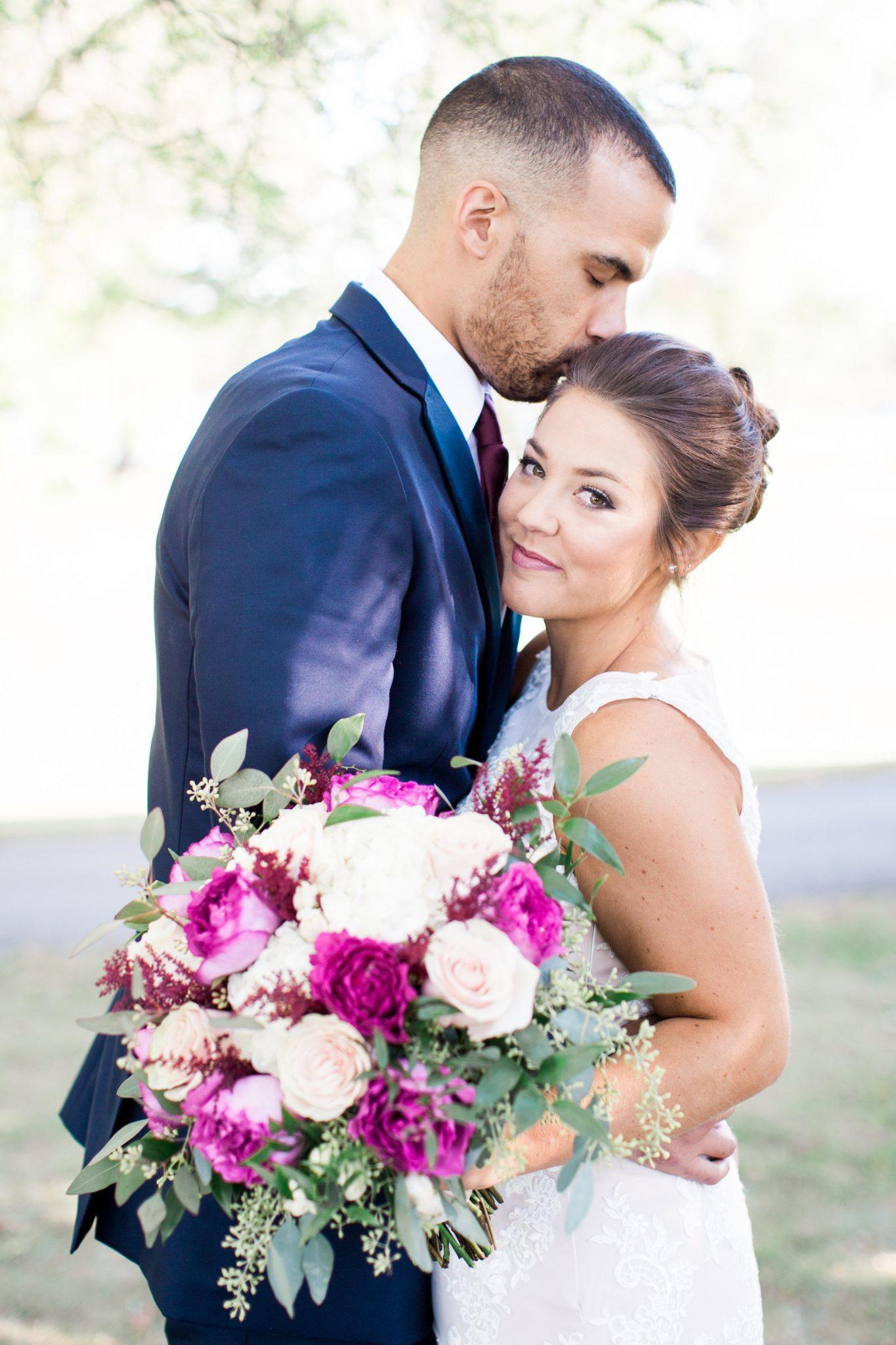 Bridal bouquet, bride and groom, Dayton Ohio wedding florist