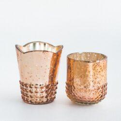 Mixed Rose Gold Mercury Glass Votives