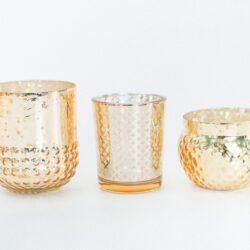 Mixed Gold Mercury Glass Votives
