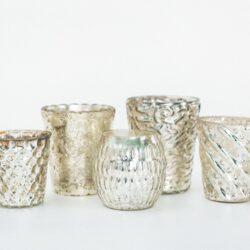 Mixed Silver Mercury Glass Votives