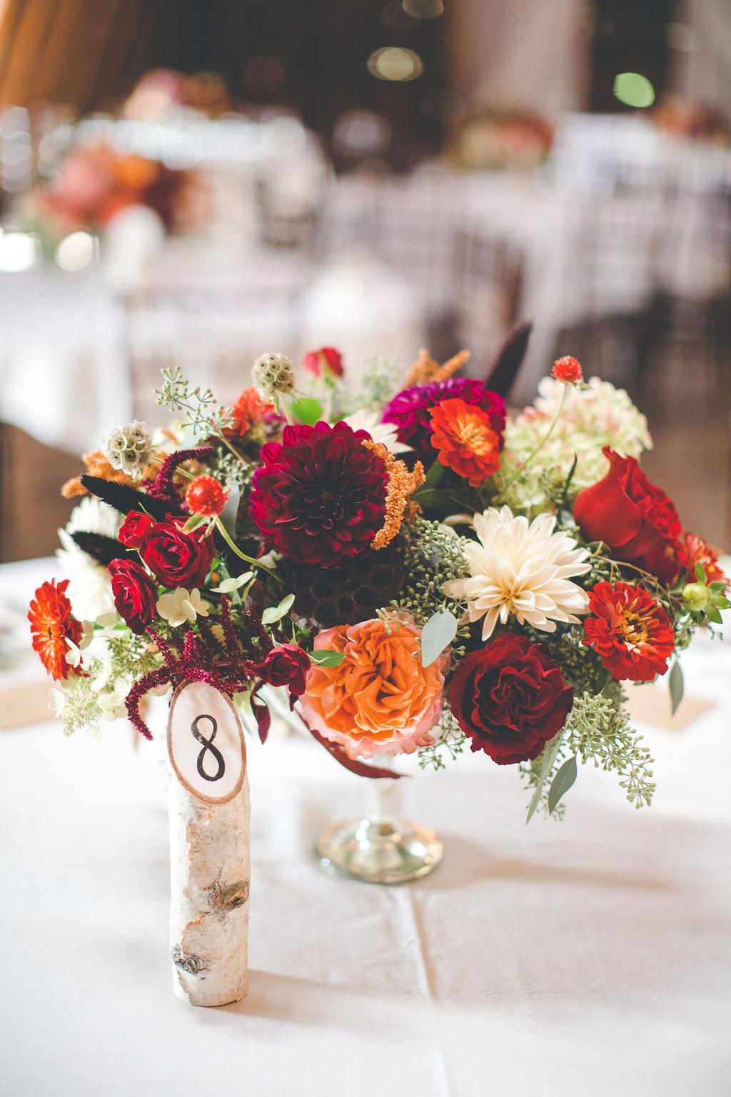 low centerpiece, wedding centerpiece, compote centerpiece, fall flower, dark red wedding flowers, wedding decor, reception decor, florist, wedding florist, Dayton Ohio florist, Cincinnati florist, dayton wedding flowers