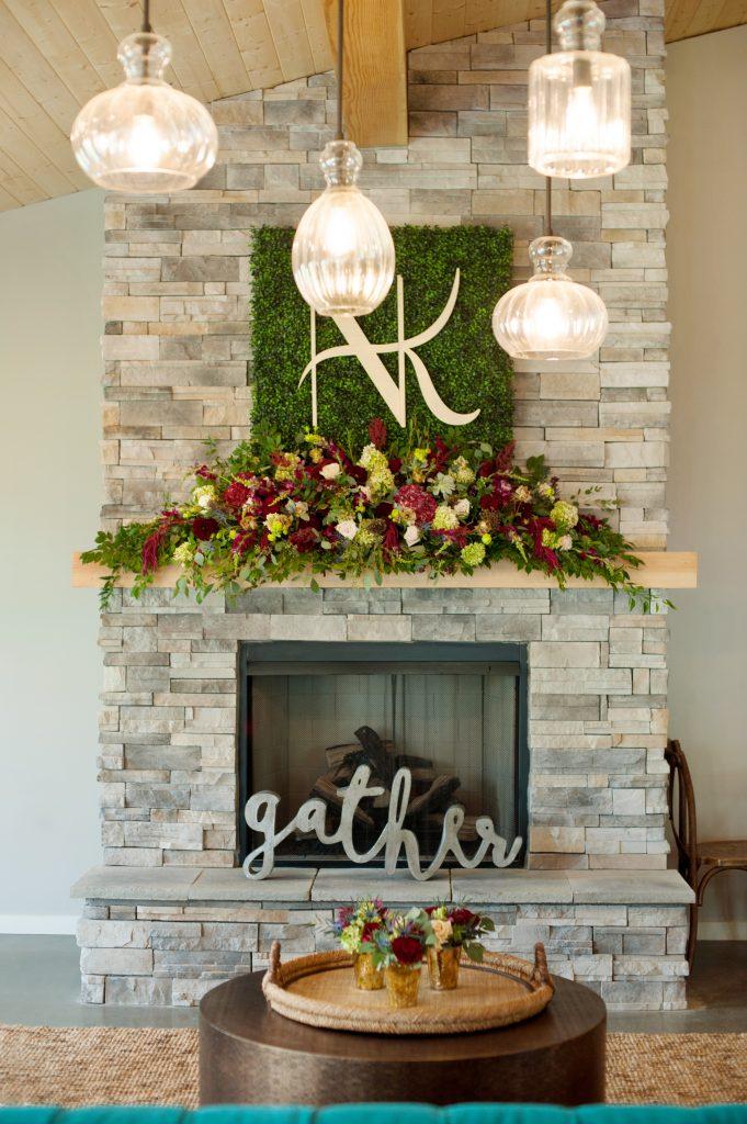 Stone_Valley_Meadows_wedding_reception_Ceremony_venue_flowers_florist_Dayton_ohio_fireplace_mantle_decor
