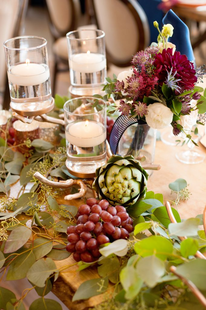 Stone_Valley_Meadows_wedding_reception_Ceremony_venue_flowers_florist_Dayton_ohio_head_table_floating_candles_Artichokes