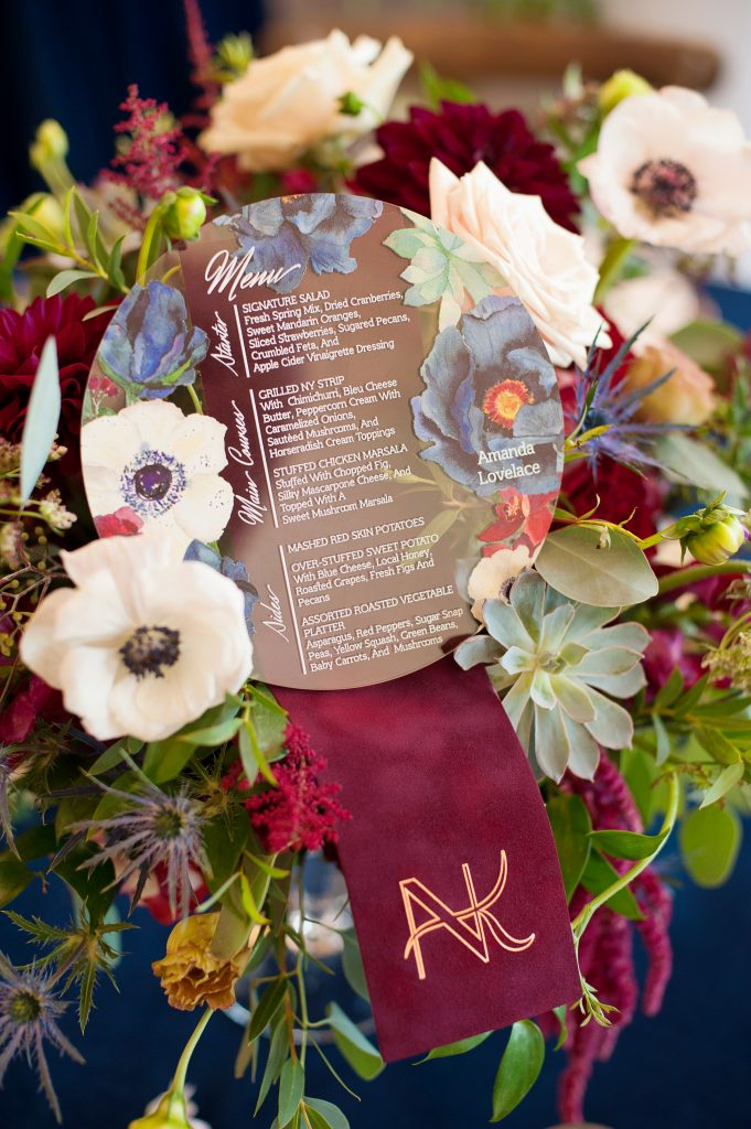 Stone_Valley_Meadows_wedding_reception_Ceremony_venue_flowers_florist_Dayton_ohio_table_menu_acrylic_menu
